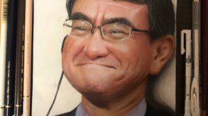 色鉛筆で河野太郎さん描きました!!  ご本人に見てもらいたい → 河野大臣「よくできました」
